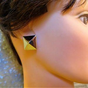 Jewelry - silver pyramid style stud pierced earrings